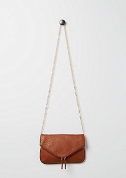 Cognac Envelope Crossbody Bag