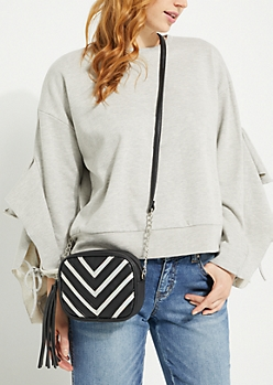 Metallic Chevron Mini Crossbody Bag