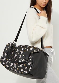Unicorn Glitter Faux Leather Duffle Bag