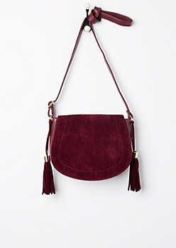 Burgundy Mock Suede Saddlebag