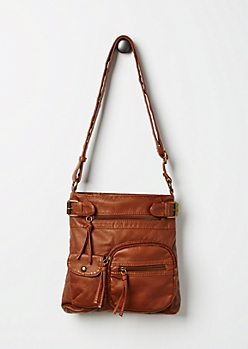 Cognac Washed Cross Body Bag