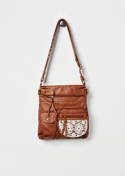 Cognac Washed Crochet Crossbody Bag