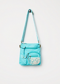 Turquoise Washed Crochet Crossbody Bag