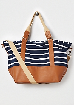 Navy & White Striped Weekender Bag by madden girl®
