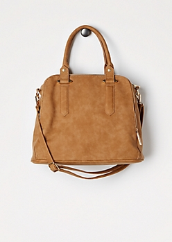 Cognac Triple Zip Satchel
