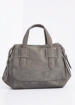 Charcoal Geo Satchel Crossbody Bag