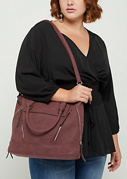 Burgundy Zip Leather Tote