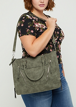 Olive Zip Leather Tote