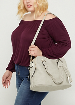Light Gray Braided Leather Satchel