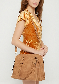 Cognac Braided Leather Satchel