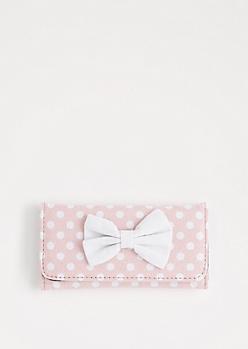 Pink Polka Dot Bow Tri-Fold Wallet