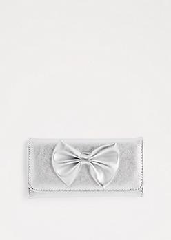 Metallic Silver Tri-Fold Bow Wallet
