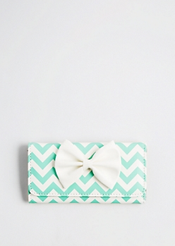 Turquoise Chevron Bow Front Trifold Wallet
