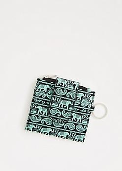 Mint Paisley Elephant Small Wallet