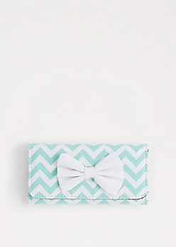 Mint Chevron Bow Tri-Fold Wallet