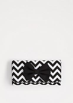 Black Chevron Bow Tri-Fold Wallet