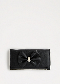 Black Crochet Bow Tri-Fold Wallet