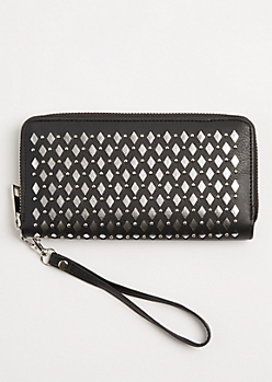 Black Metallic Cutout Wristlet