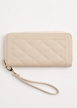 Taupe Quilted Wristlet
