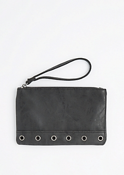 Black Grommet Base Vegan Leather Wristlet