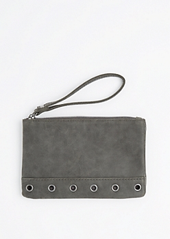 Gray Grommet Base Vegan Leather Wristlet