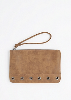 Brown Grommet Base Vegan Leather Wristlet