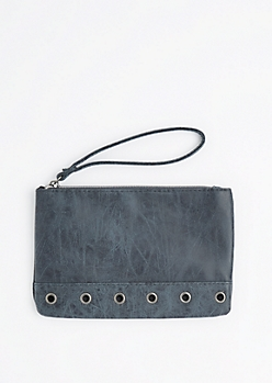 Navy Grommet Base Vegan Leather Wristlet