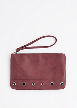 Burgundy Grommet Base Vegan Leather Wristlet