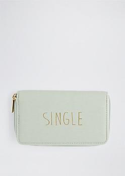 Mint Single Zip Wallet By T-Shirt & Jeans®