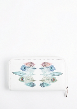 Peacock Feather Zip Wallet