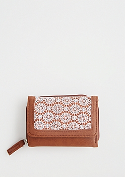 Cognac Crochet Tri-Fold Wallet
