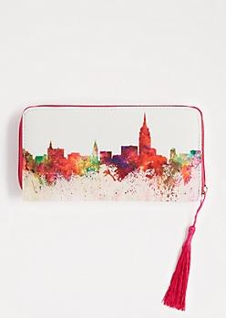Splattered Skyline Tie Dye Tassel Wallet