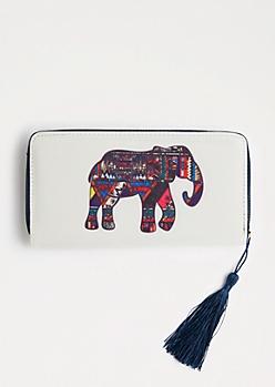 Tribal Elephant Tassel Wallet