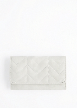 Gray Quilted Tri-Fold Wallet