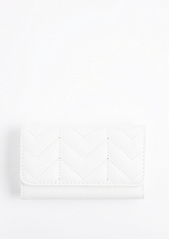 White Quilted Tri-Fold Wallet