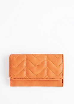 Cognac Quilted Tri-Fold Wallet
