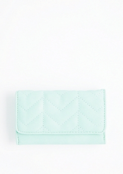 Mint Quilted Tri-Fold Wallet