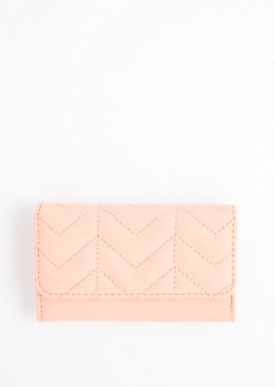 Coral Quilted Tri-Fold Wallet