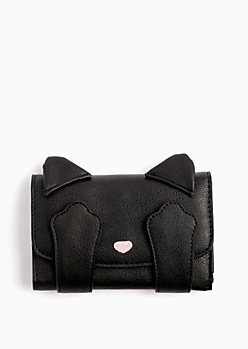 Black Peekaboo Kitty Tri-Fold Wallet