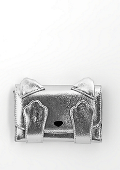 Silver Peekaboo Kitty Tri-Fold Wallet