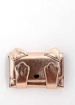 Rose Gold Peekaboo Kitty Tri-Fold Wallet