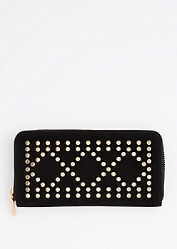Black Geo Studded Wallet