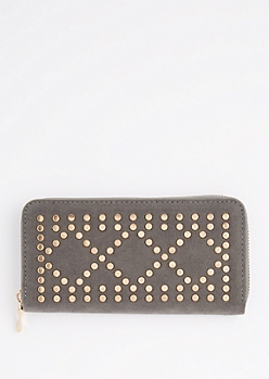 Gray Geo Studded Wallet