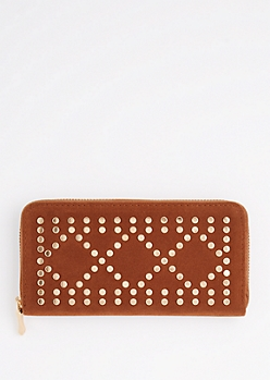 Brown Geo Studded Wallet