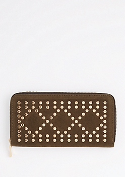 Olive Green Geo Studded Wallet