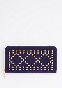 Navy Geo Studded Wallet
