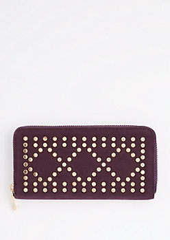 Plum Geo Studded Wallet