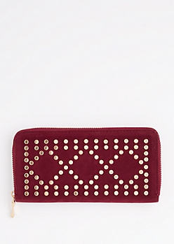 Burgundy Geo Studded Wallet