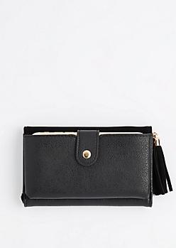 Black Tasseled Tri-Fold Wallet