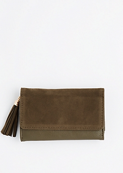 Dark Green Tasseled Tri-Fold Wallet